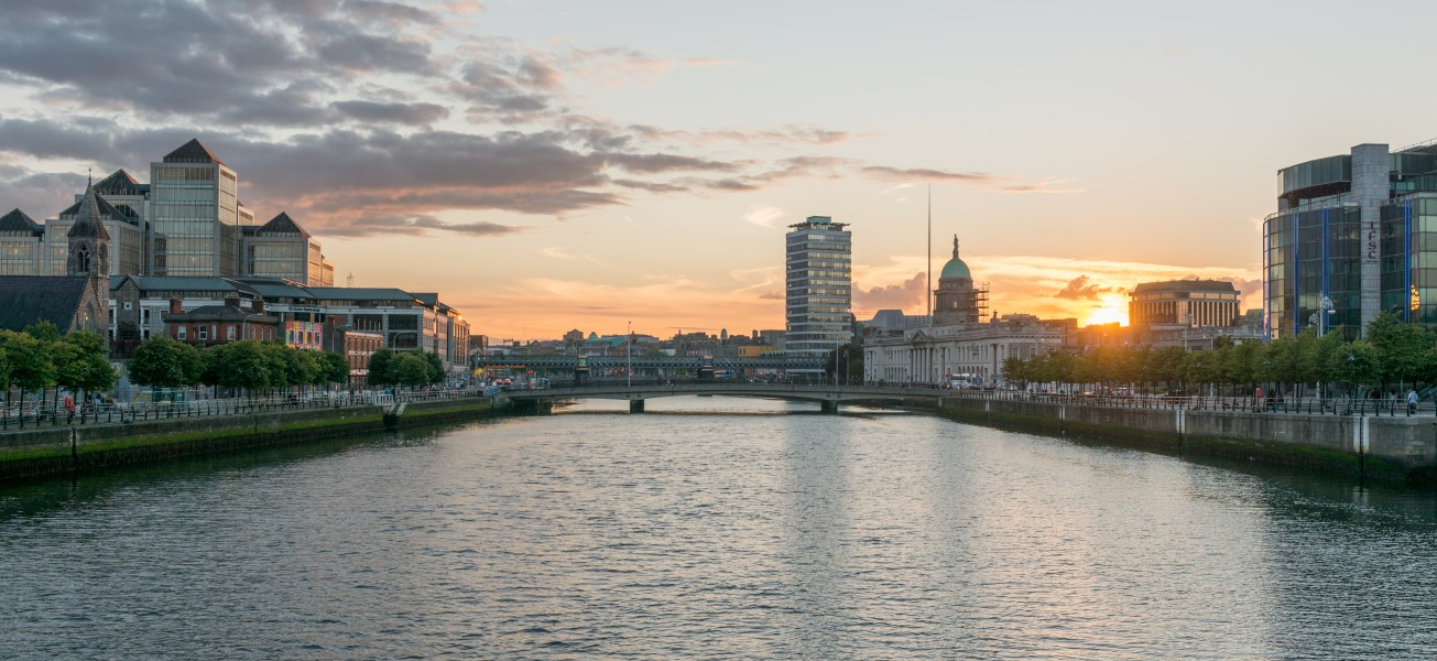 View of Dublin, looking east from Sean O'Casey Bridge 20150807 1