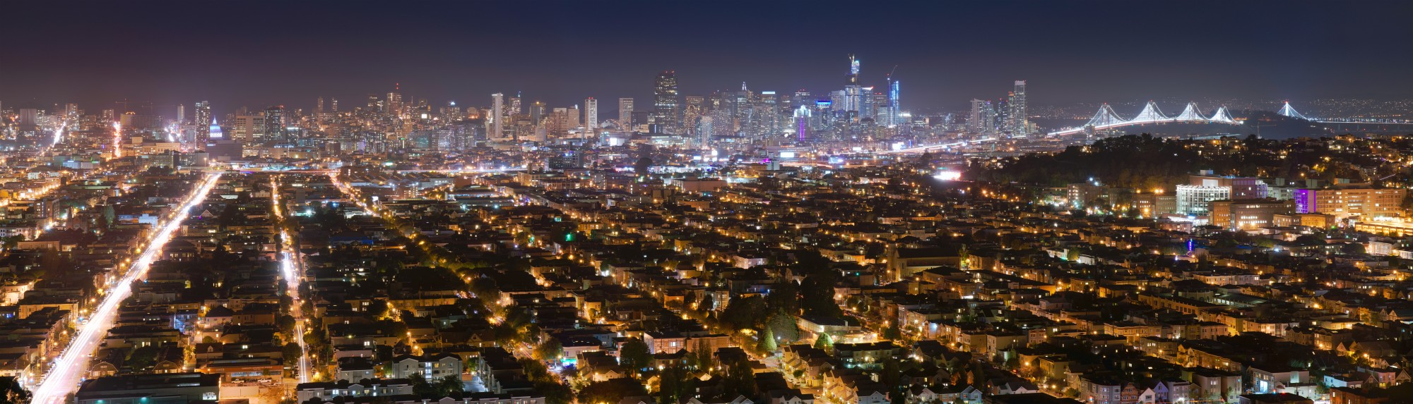 View of San Francisco at night from Bernal Heights 2016 01