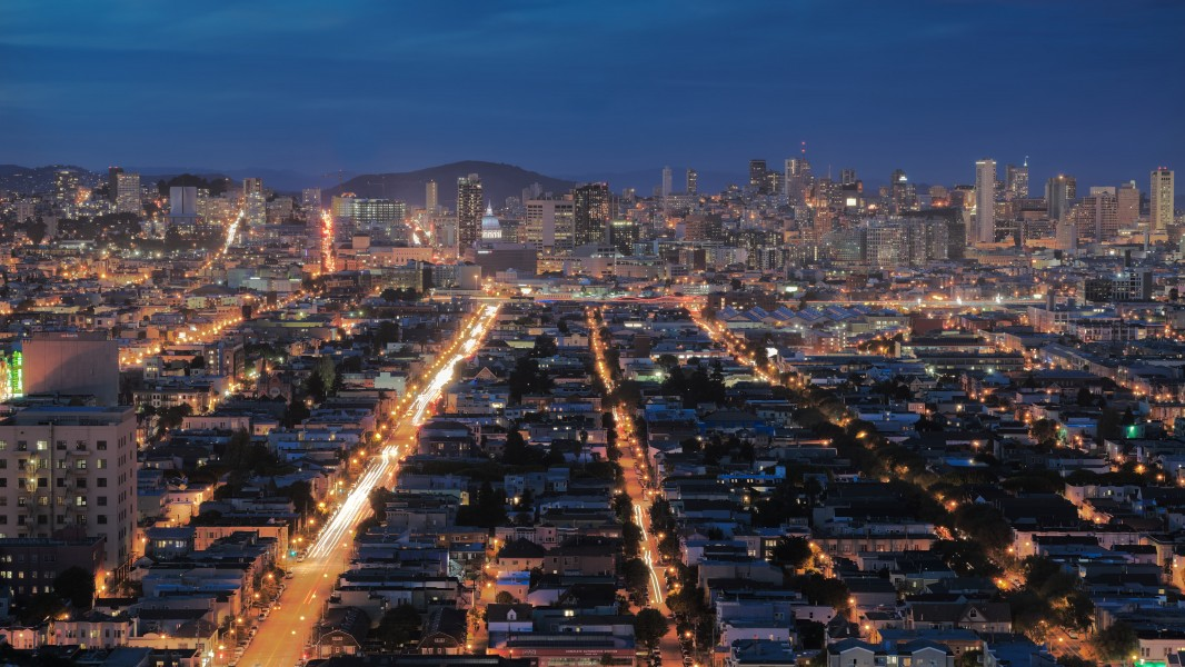 View of San Francisco at night from Bernal Heights 2016 03
