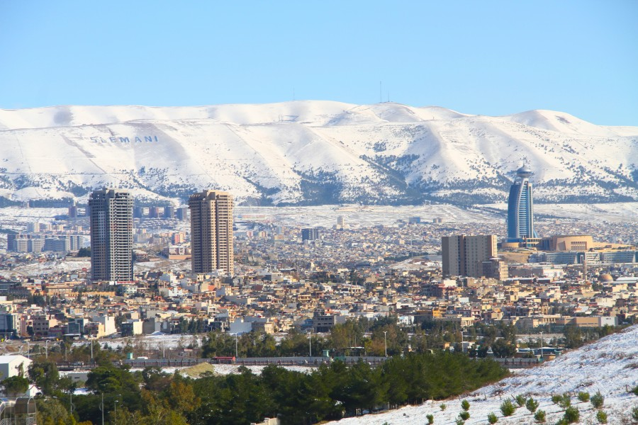 View of Sulaymaniyah (Slemani) City in Winter - Snow 2015