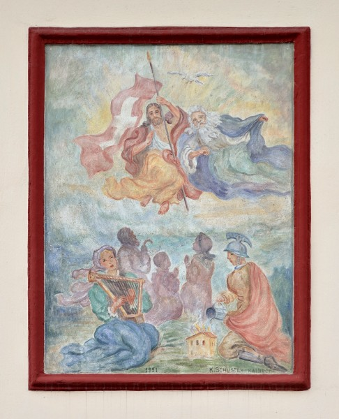 Wall painting of Holy Trinity by K. Schuster, Birkfeld