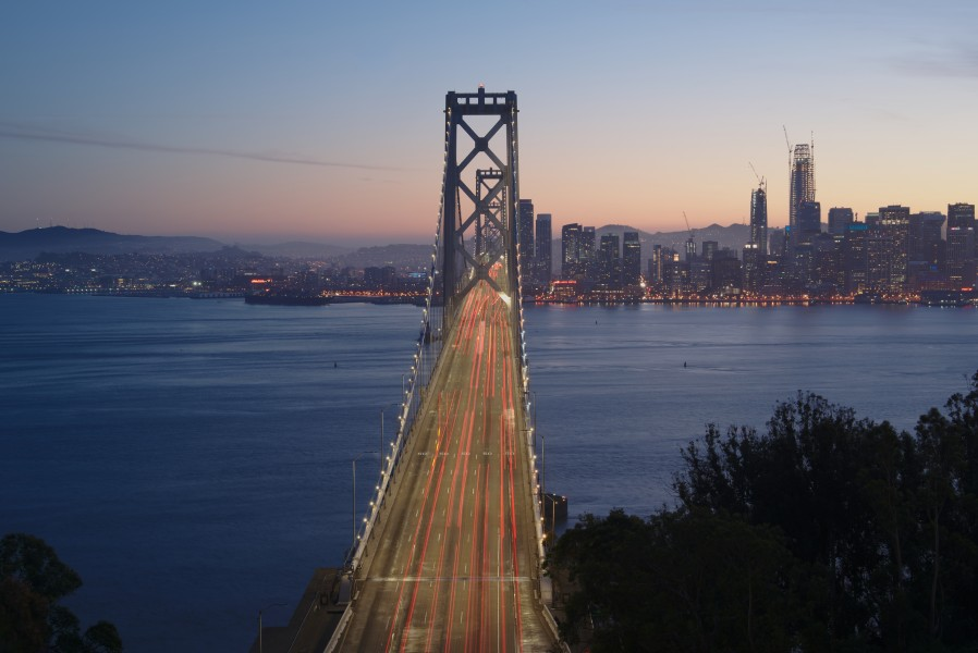 Western Span of the San Francisco-Oakland Bay Bridge at dusk, seen from Yerba Buena Island