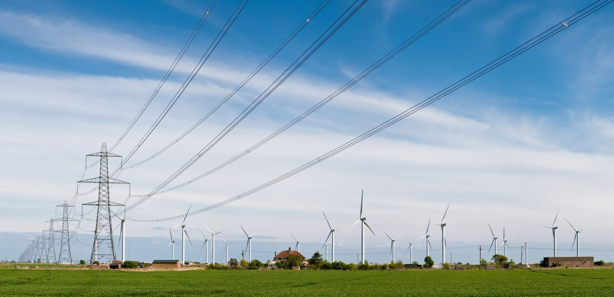 Wind Turbines and Power Lines, East Sussex, England - April 2009