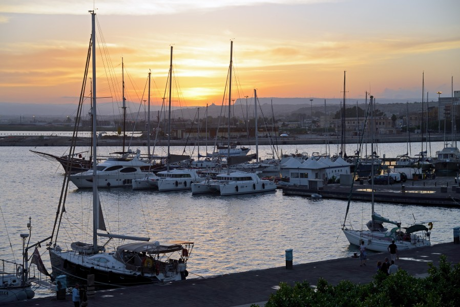 Yachts in Syracuse at sunset. Sicily, Italy