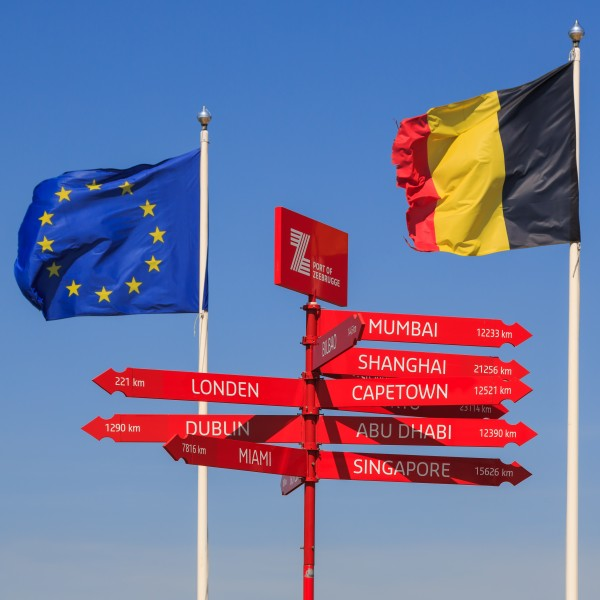 Zeebrugge Belgium Signpost-with-EU-Flag-and-Belgium-Flag-01