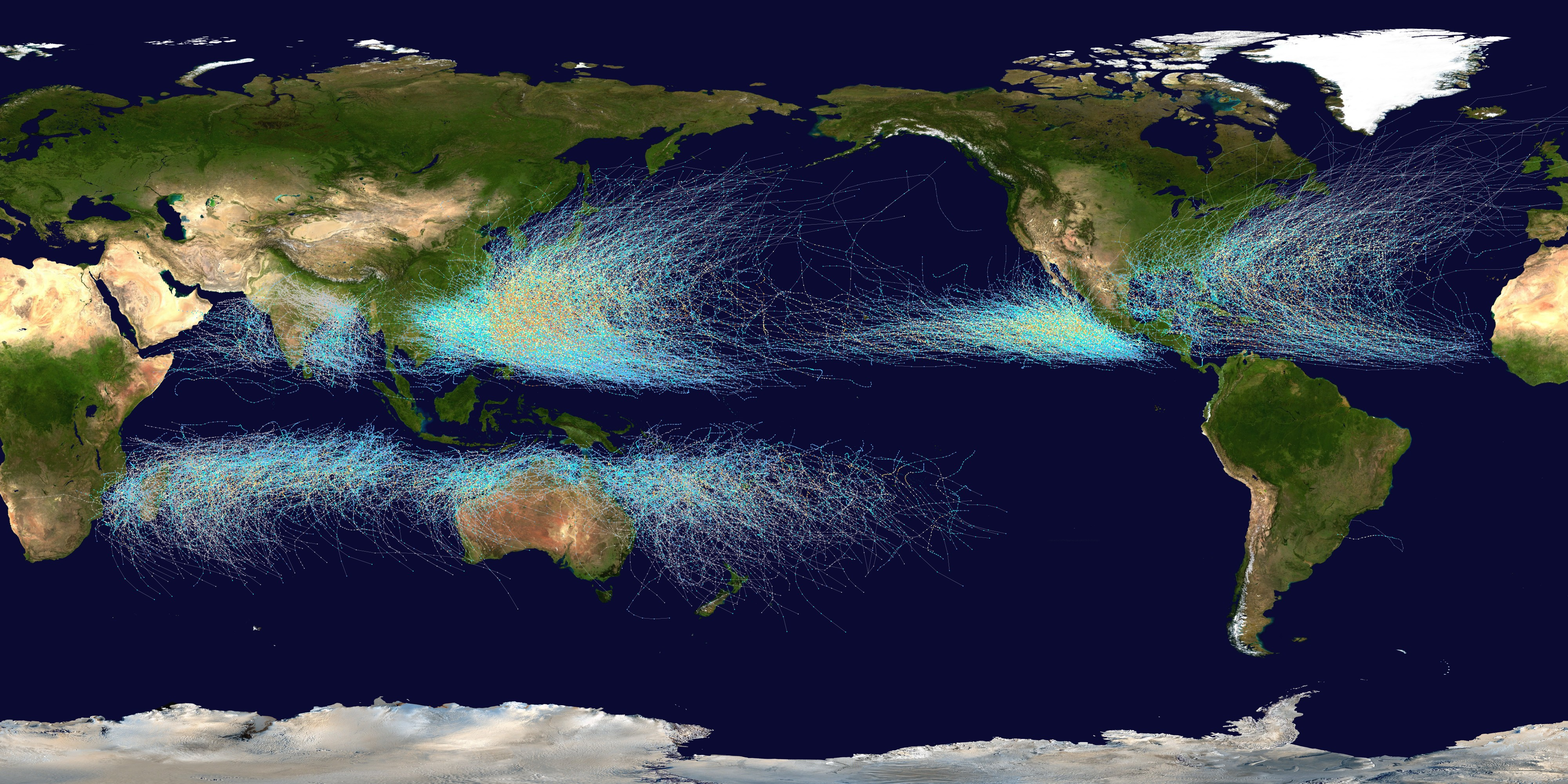 Global tropical cyclone tracks