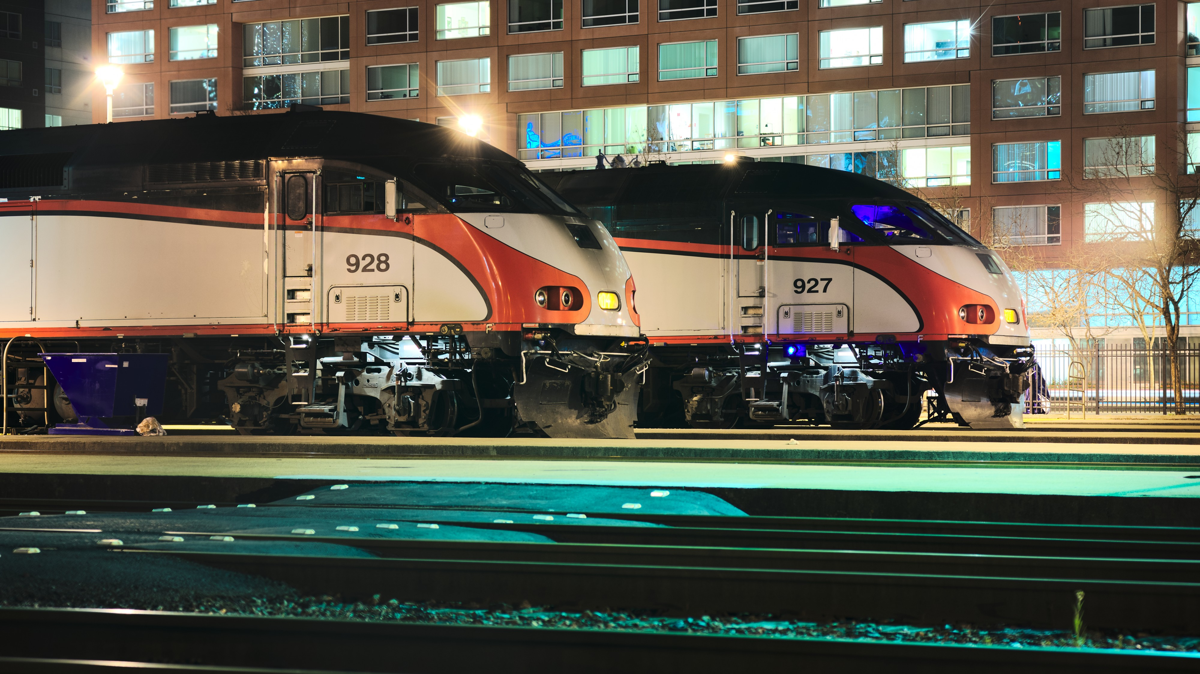 MPI MP36PH-3C locomotives of Caltrain at night