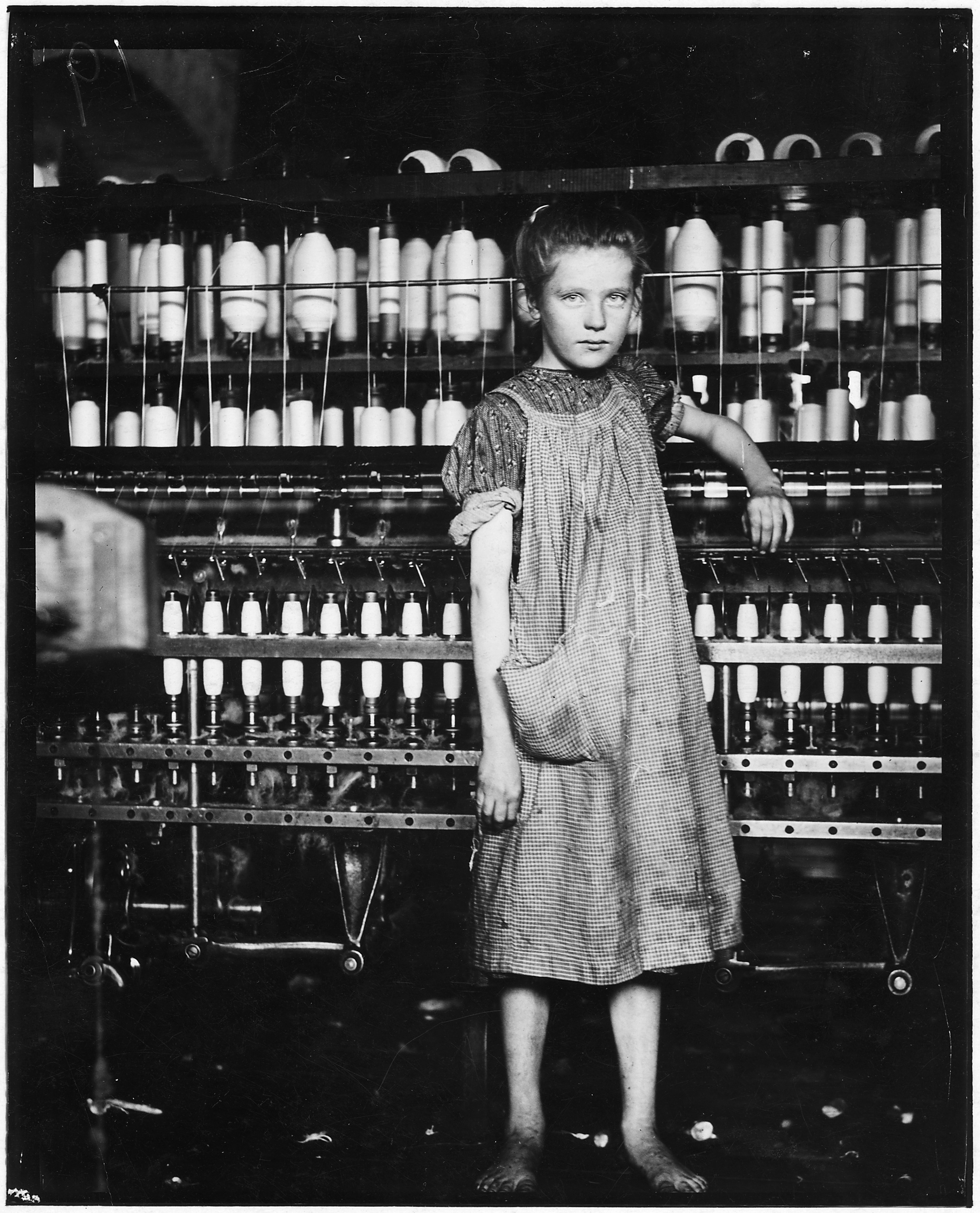 Addie Laird, 12 years old. Spinner in a Cotton Mill. Girls in mill say she is 10 years old. She admitted to me that... - NARA - 523249