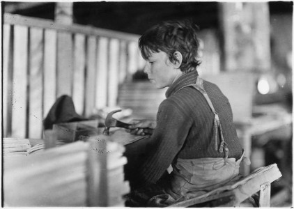 Boys making melon baskets. A basket factory. Evansville, Ind. - NARA - 523098