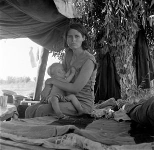 Dorothea Lange, Drought refugees from Oklahoma camping by the roadside, Blythe, California, 1936