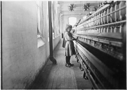 One of the little spinners working in Lancaster Cotton Mills. Many others as small. Lancaster, S.C. - NARA - 523122