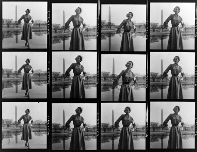 Toni Frissell, fashion model near tidal basin, Washington, D.C., ca. 1946