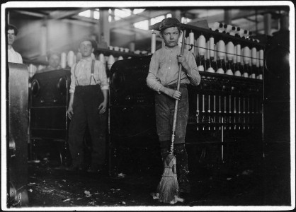 Young sweeper working in Anniston Yarn Mills. Anniston, Ala. - NARA - 523357