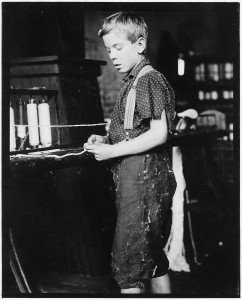 Youngster making bands, cotton mill. Clarence Noel, 11 years old. North Pownal, Vt. - NARA - 523248