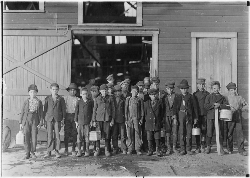 5 pm. Boys going home from Monougal Glass Works. A native remark,