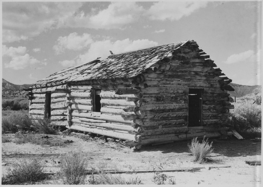 Early home of Ebenezer Bryce for whom Bryce Canyon was named. Two miles south of Tropic, Utah, on the east side of... - NARA - 520232
