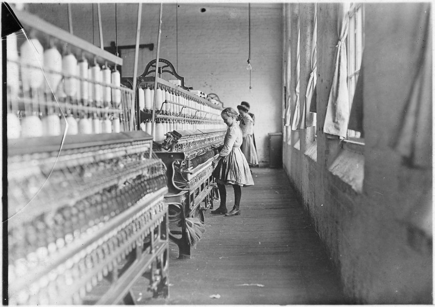 Hattie Hunter, spinner in the Lancaster Cotton Mills. 52 inches high. Worked in mill for three years. Gets 50 (cents)... - NARA - 523124
