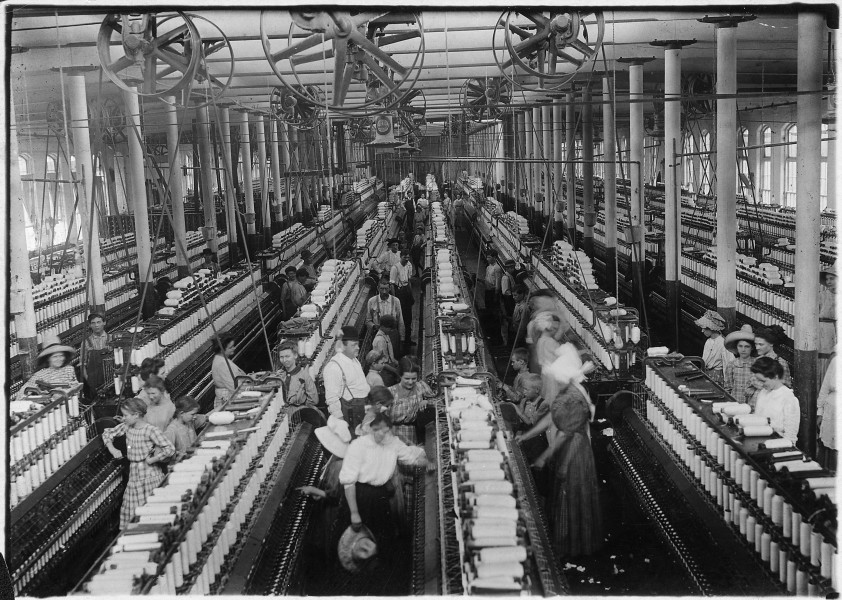 Interior of Magnolia Cotton Mills spinning room. See the little ones scattered through the mill. All work. Magnolia... - NARA - 523307
