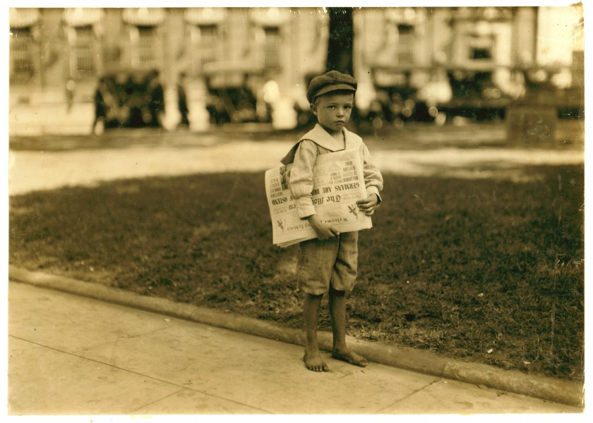 Lewis Hine, Ferris, 7 year old newsie, Mobile, Alabama, 1914