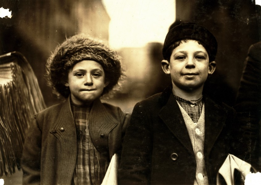 Lewis Hine, Joseph, 10, and Rosy, 8, newsies, Newark, New Jersey, 1909