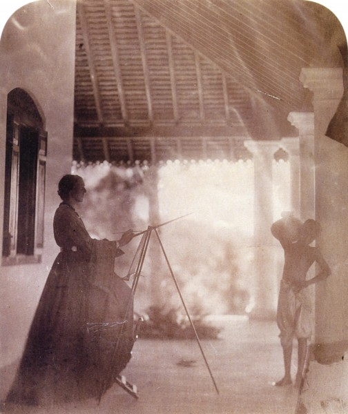 Marianne North in Mrs Cameron's house in Ceylon, by Julia Margaret Cameron