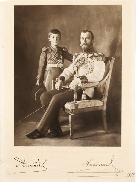 Nicholas II with his son Alexei, portrait with autographs