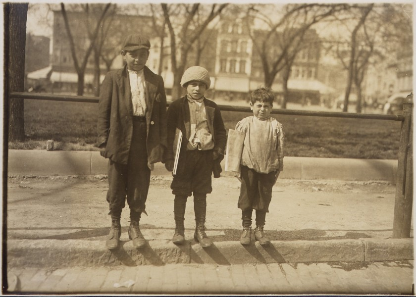 Photograph of Louis Gabriel (13 years old) and brother Eddie (10 years old) and Johnnie (7 years old) - NARA - 306617
