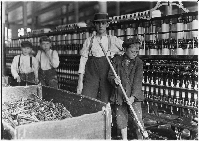 Sweeper and doffer boys in Lancaster Cotton Mills. Many more as small. Lancaster, S.C. - NARA - 523120