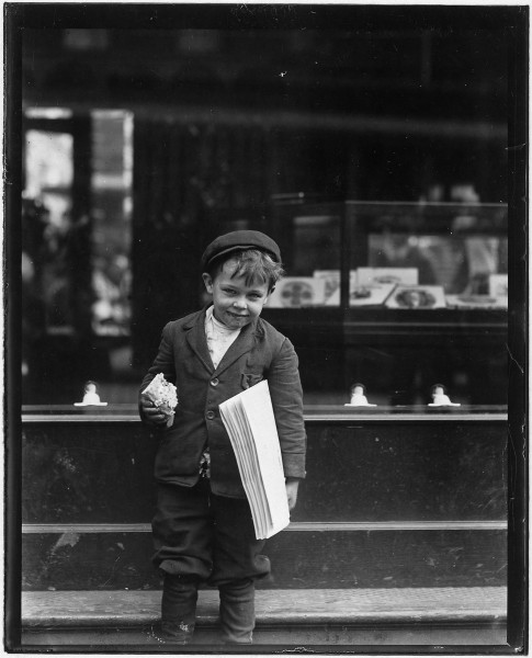 Tommy Hawkins, 5 years old. Sells papers. Is 41 inches high. St. Louis, Mo. - NARA - 523296
