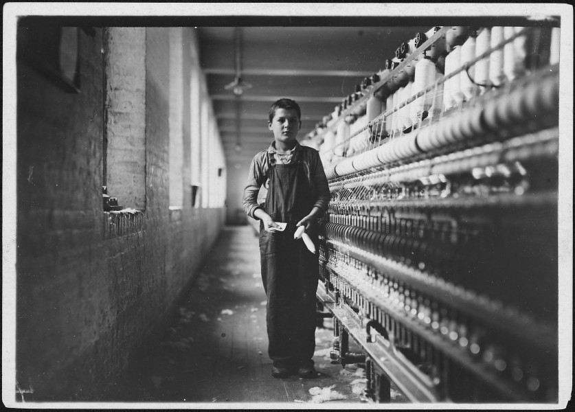 Tony Soccha, a young bobbin boy, been working there a year. Chicopee, Mass. - NARA - 523488