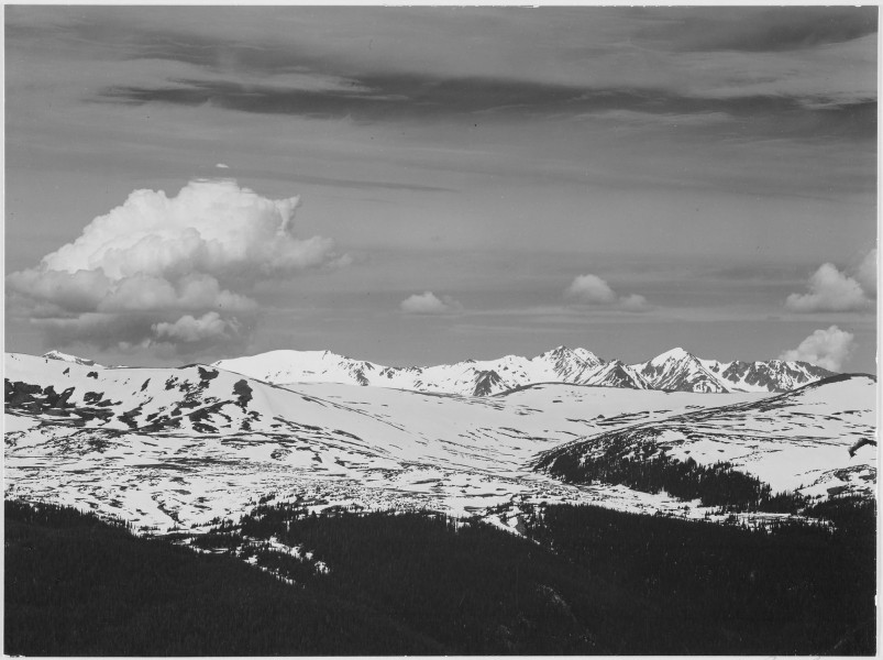 View at timberline, dark foreground, light snow capped mountain, gray sky,