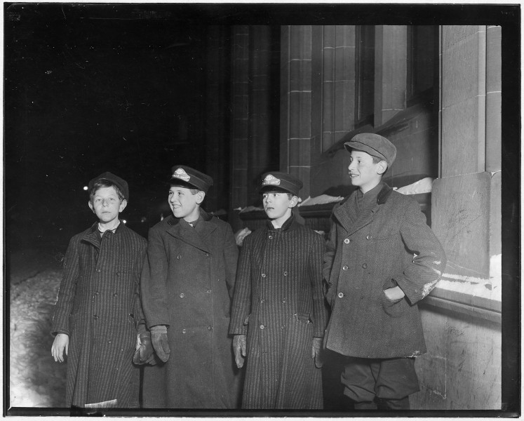 Western Union Messengers on night duty, 10-30 P.M. Left to right, Joseph Strassburg (had just gotten off), Leo... - NARA - 523279