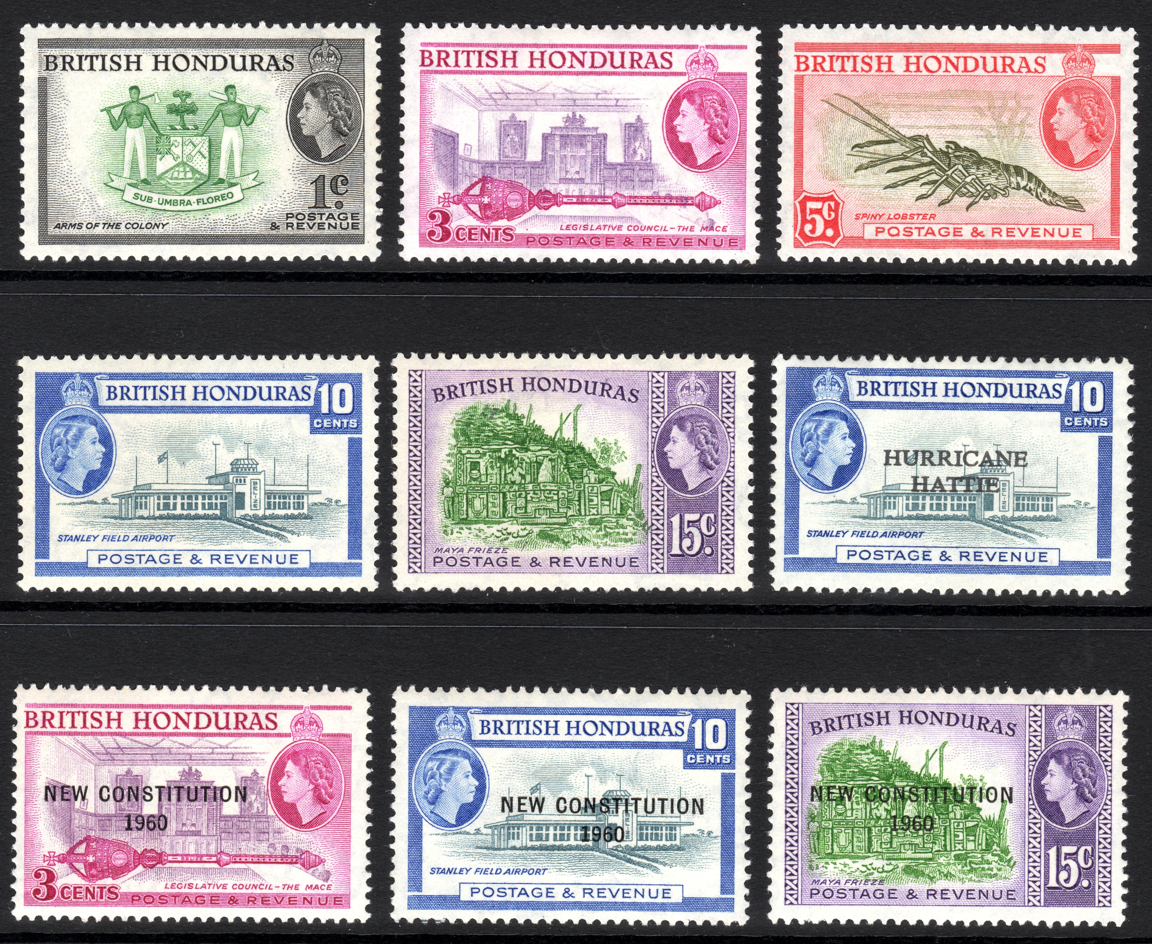 British Honduras stamps 1953 and 1961