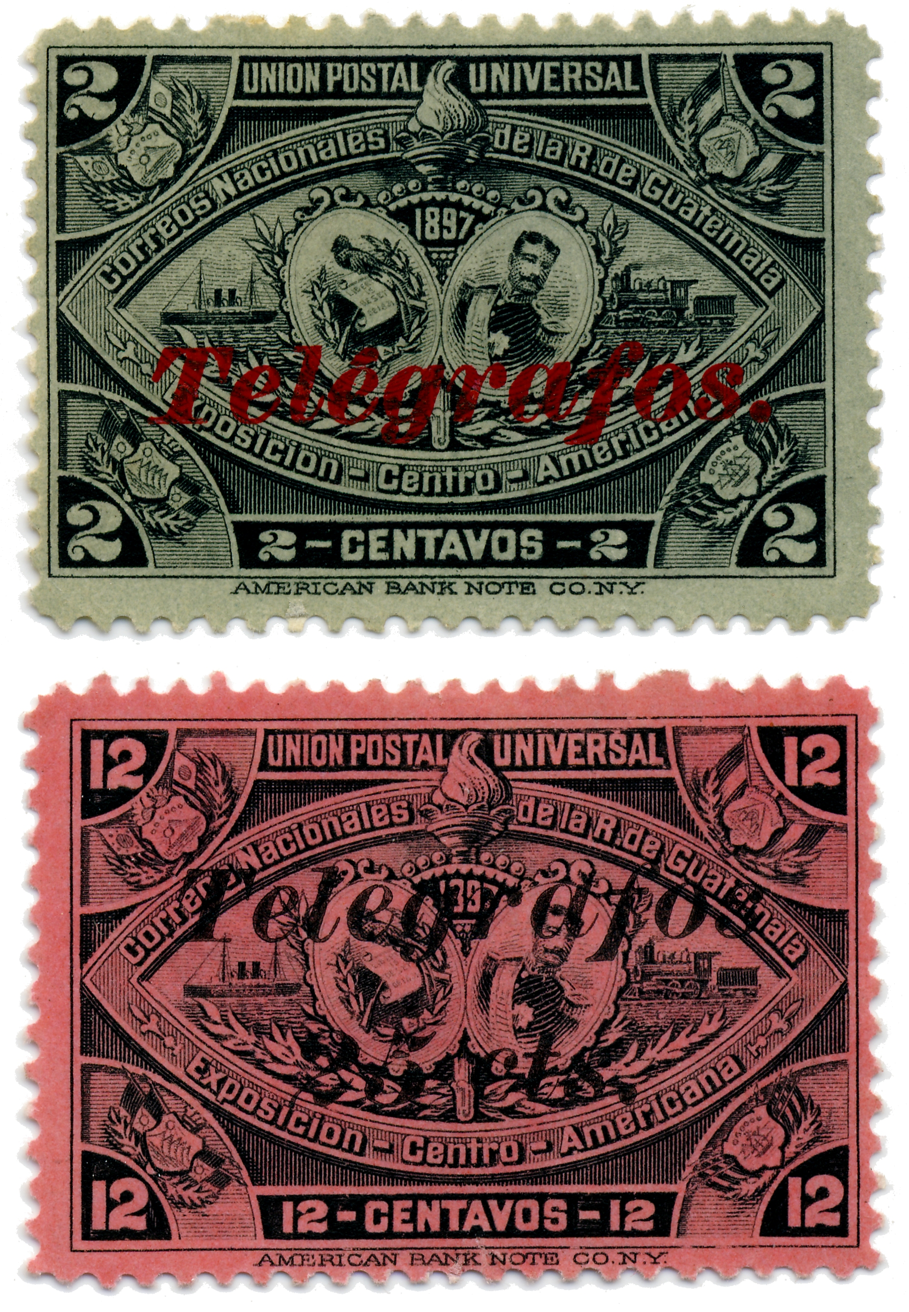 Different shaped T of telegraph on stamps of Guatemala