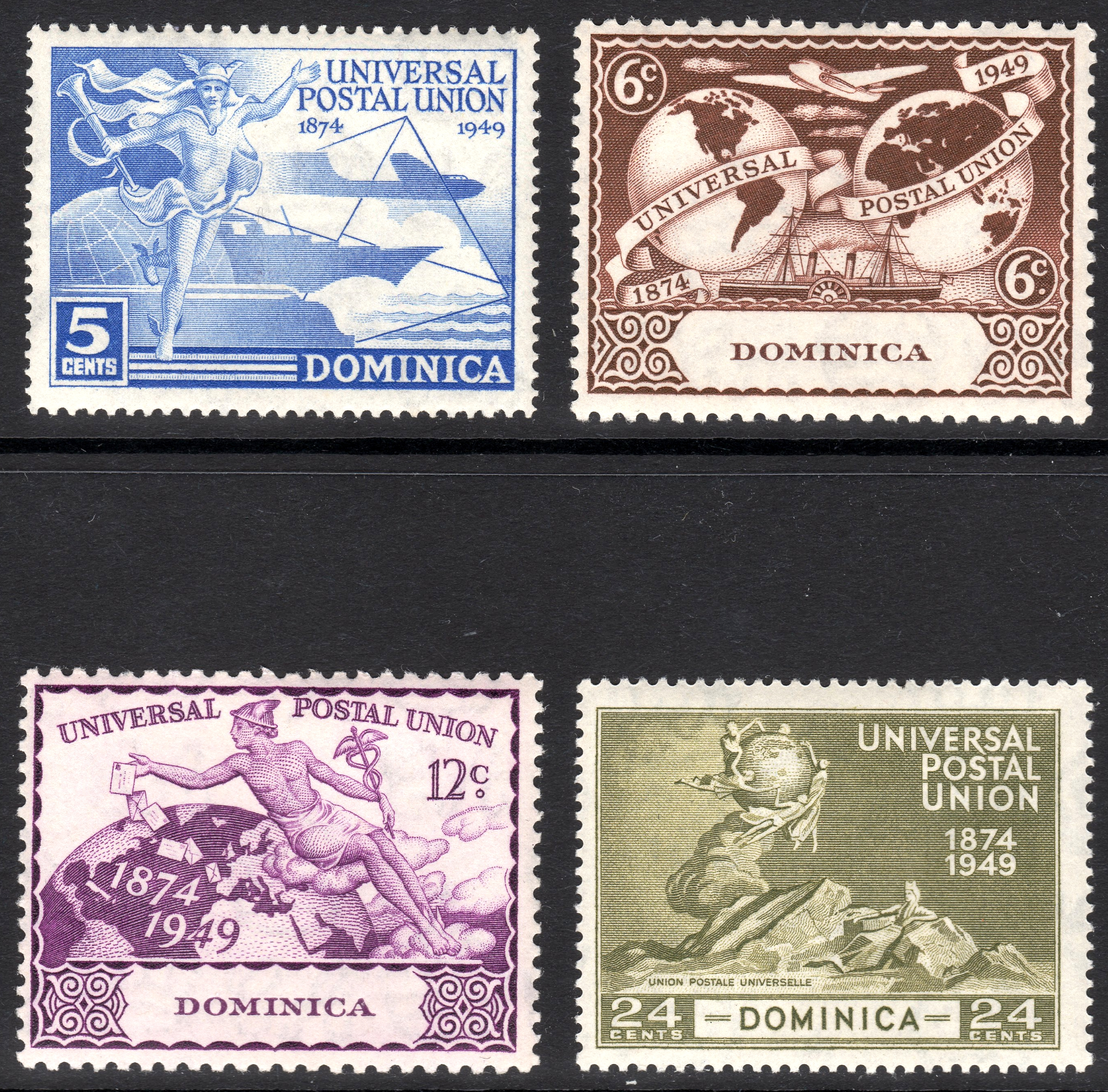 Dominica 1949 UPU stamps