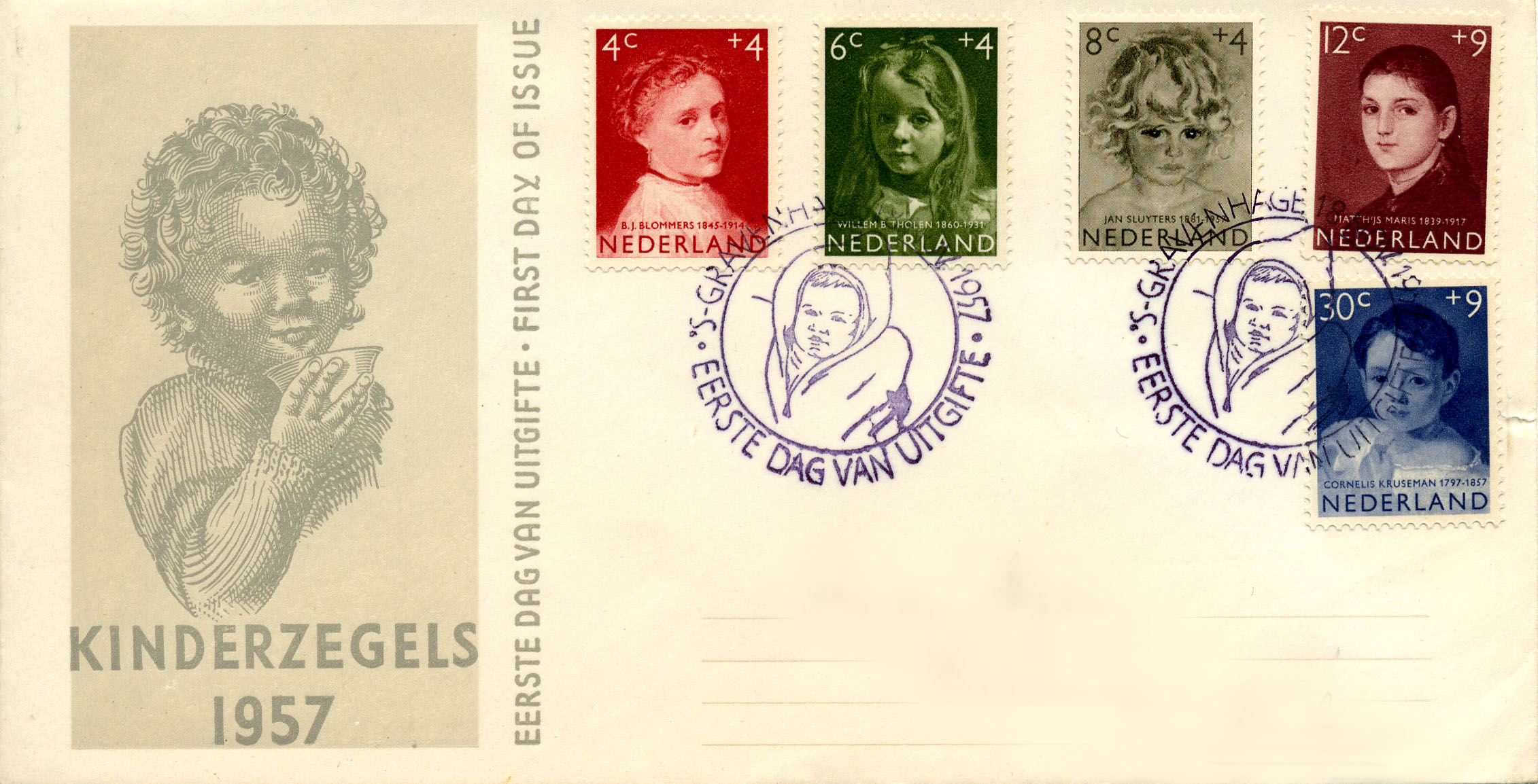 First day cover 1957 kinderzegels