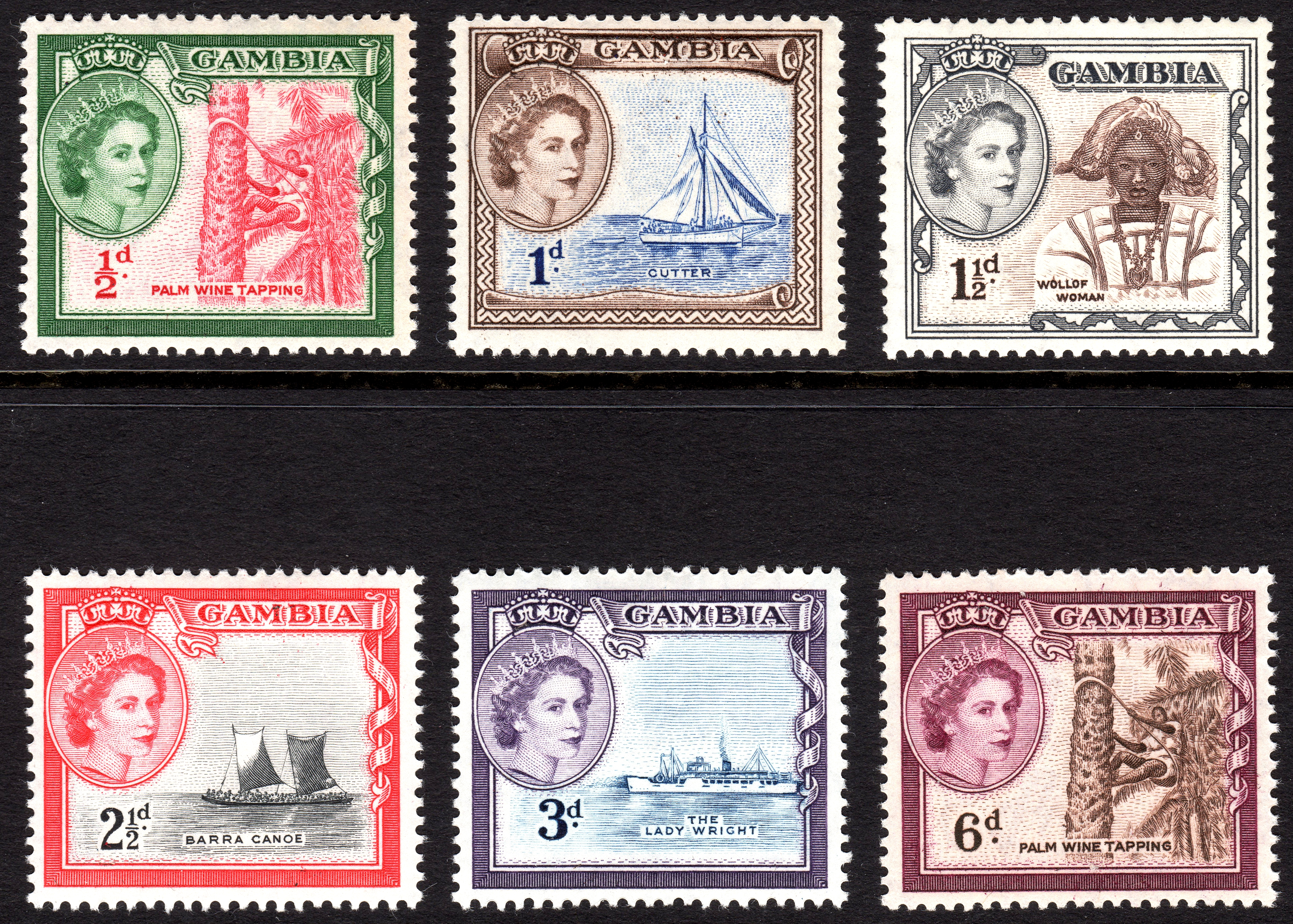 Gambia 1953 stamps