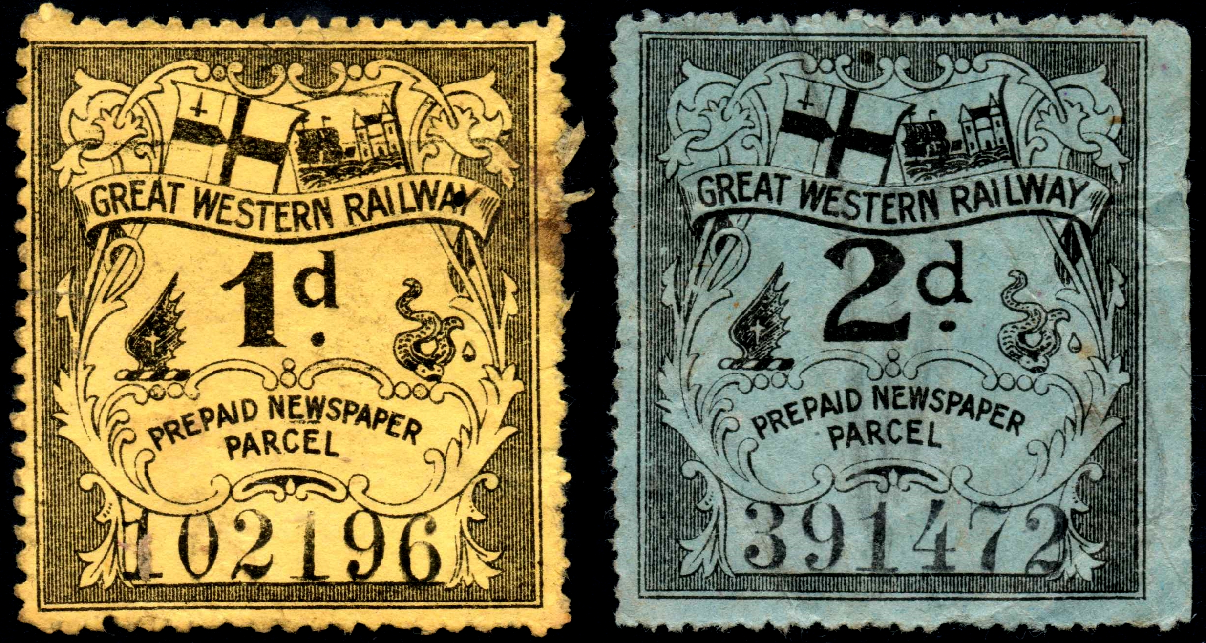 Great Western Railway prepaid newspaper parcel stamps