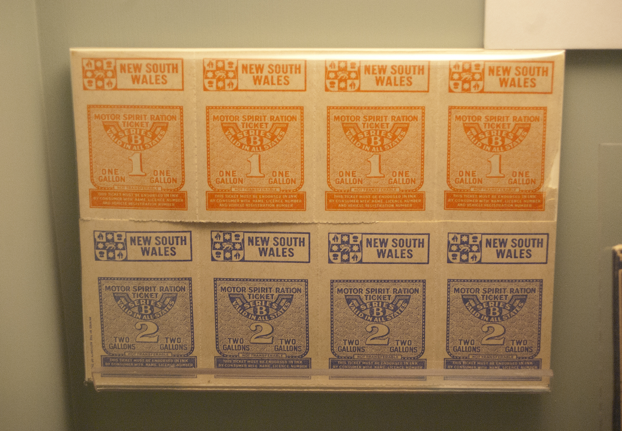NSW Motor Spirit Ration Tickets on display a the RAAF Museum
