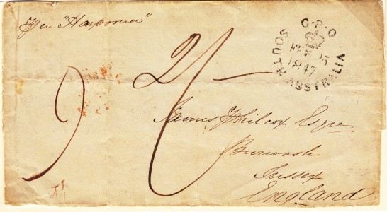 1847 prestamp cover Adelaide to England