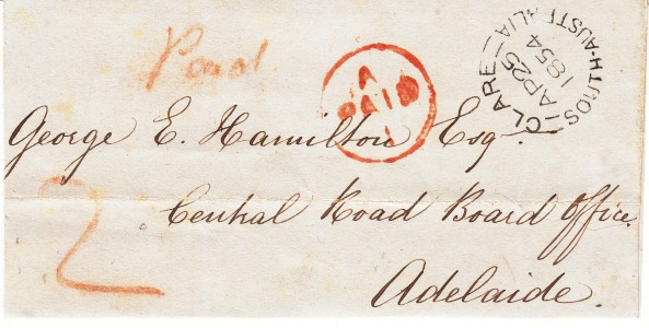 1854 prestamp cover Clare to Adelaide