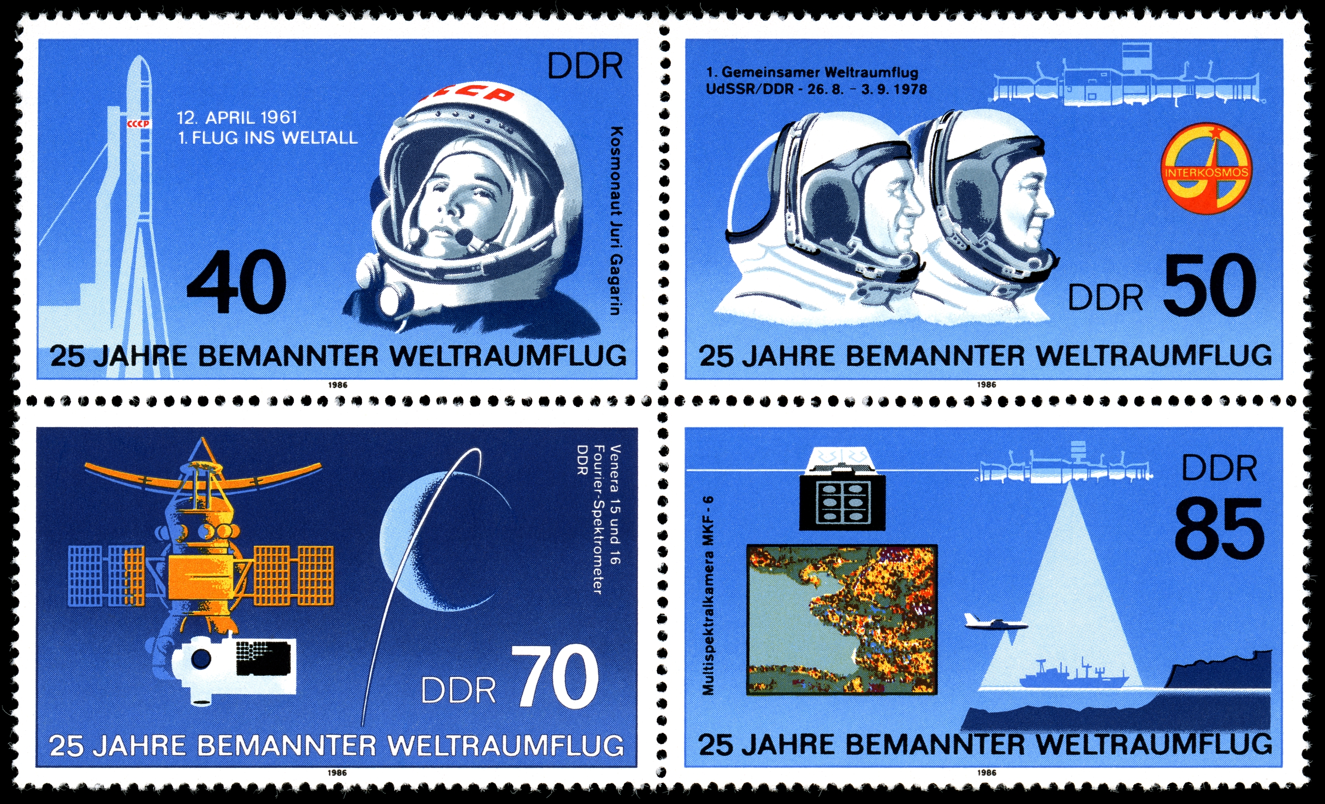 Stamps of Germany (DDR) 1986, MiNr Zusammendruck 3005-3008