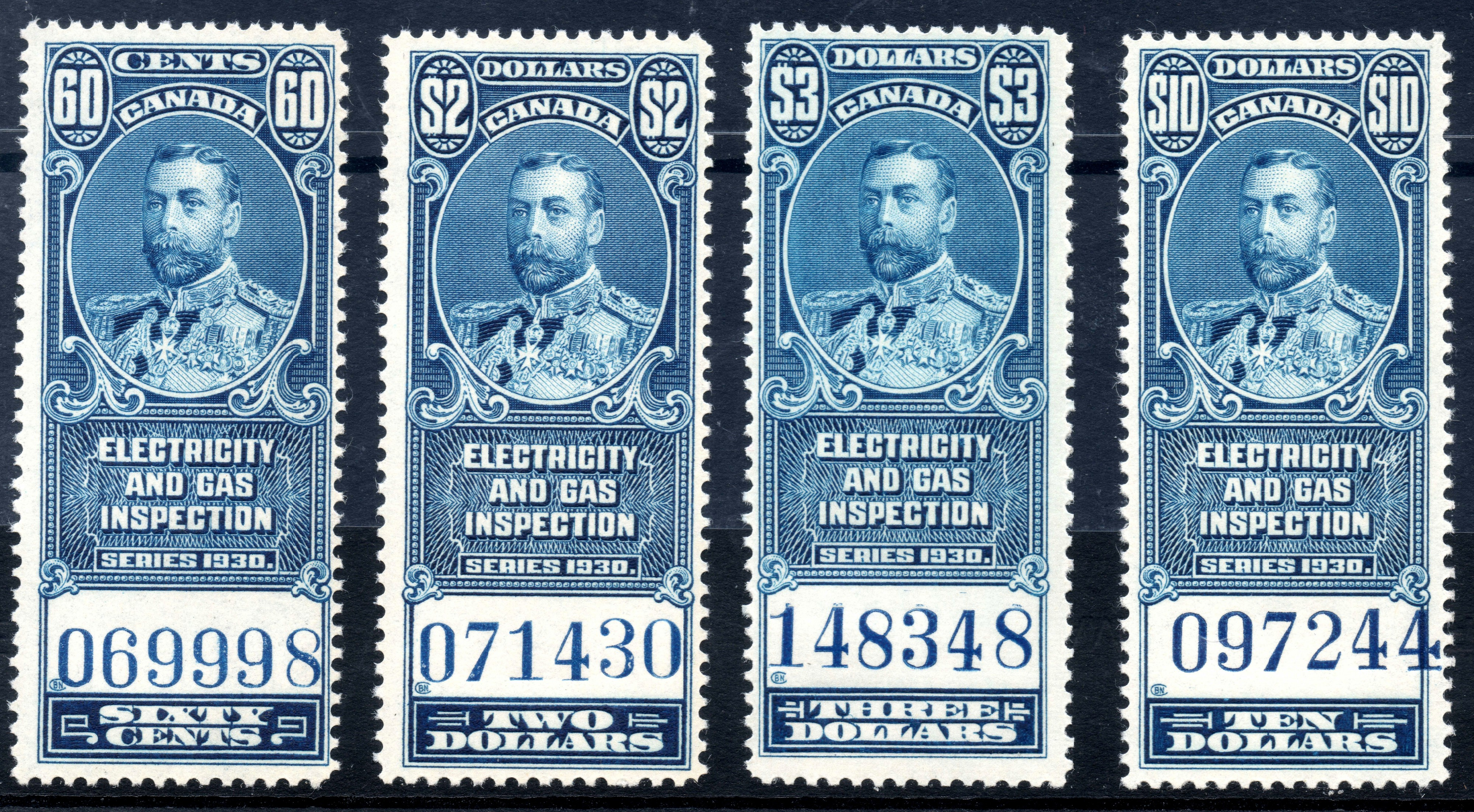 Canada 1930 Electricity and Gas Inspection stamps