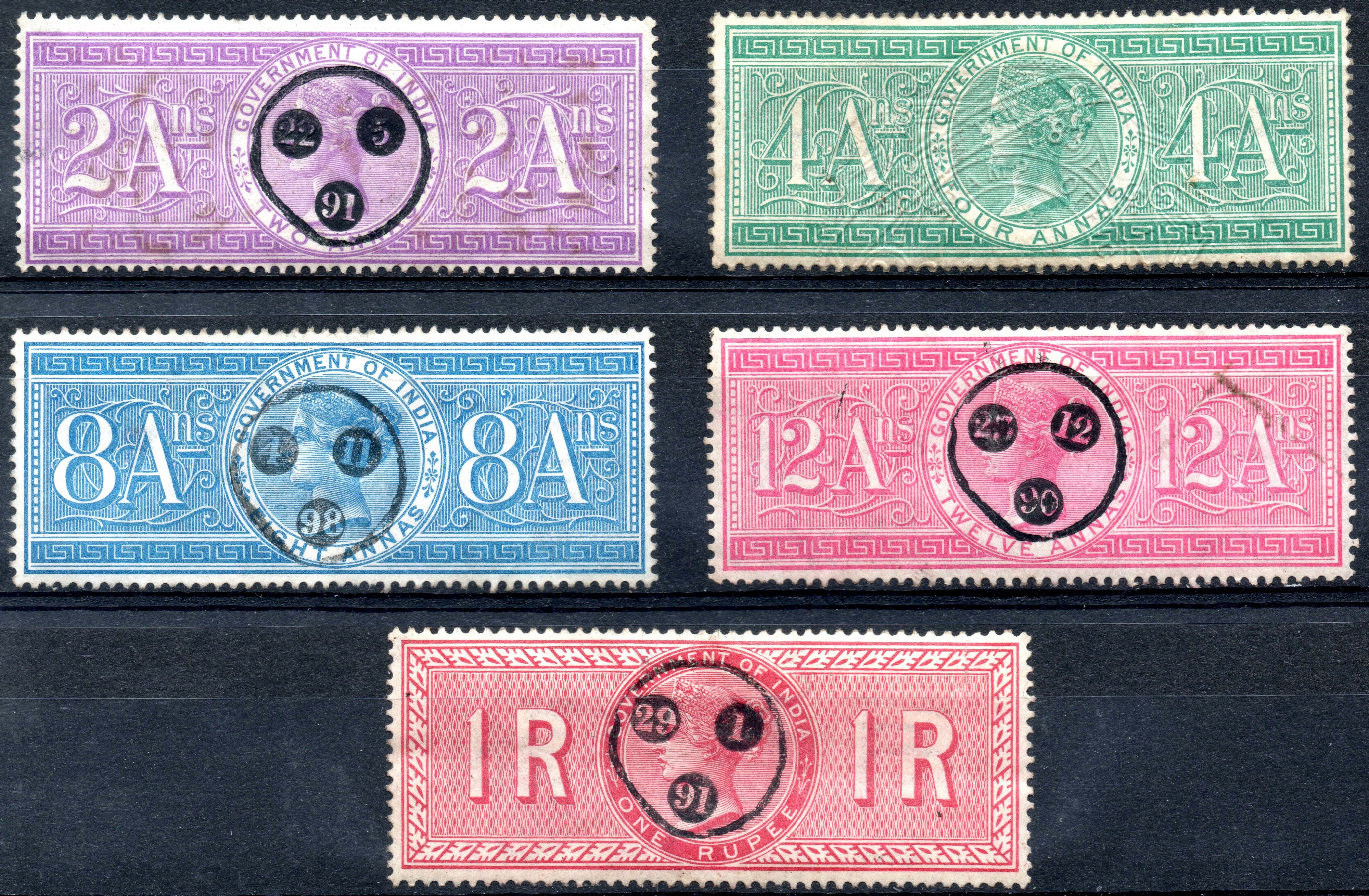 Five India 1868 Special Adhesive Revenue Stamps