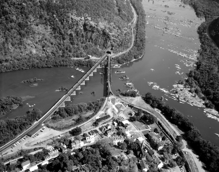 B & O Railroad Potomac River Crossing - aerial 1970