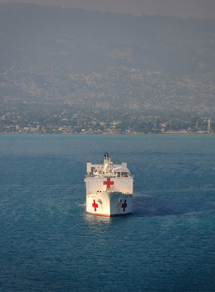 US Navy 100120-N-4774B-081 The Military Sealift Command hospital ship USNS Comfort (T-AH 20) is seen off the coast of Haiti