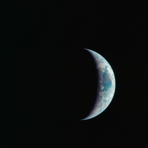 Crescent Earth seen from Apollo 11