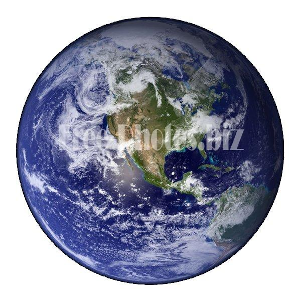 Earth Western Hemisphere white background