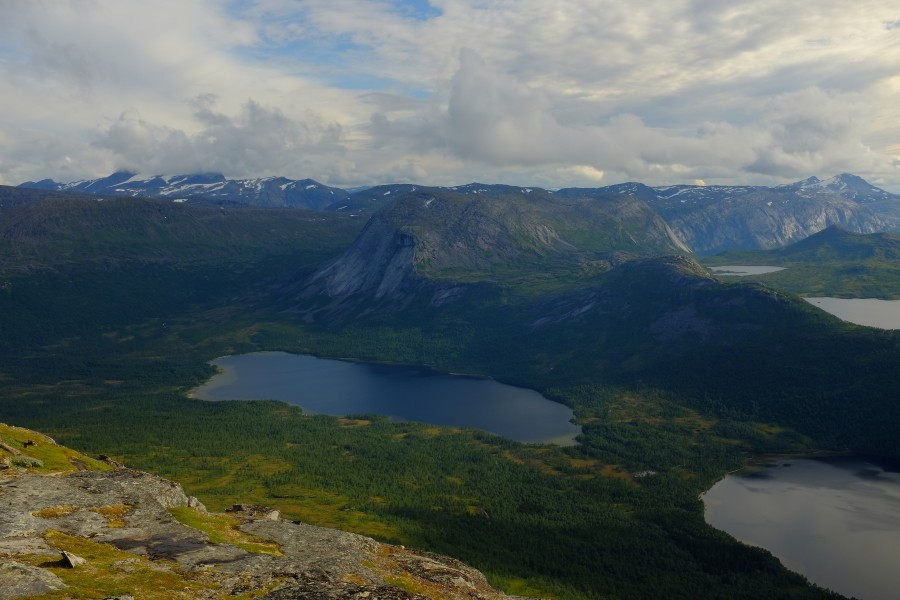 View from Kråkmotinden Mountain against Sjuenetvatnet lake in Sagvassdalen Nature Reserve