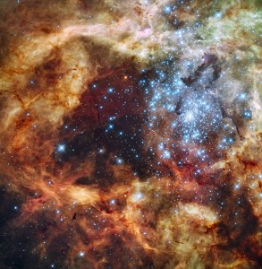 Grand star-forming region R136 in NGC 2070 (captured by the Hubble Space Telescope)